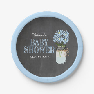 Mason Jar Blue Flowers Chalkboard Baby Shower Paper Plate