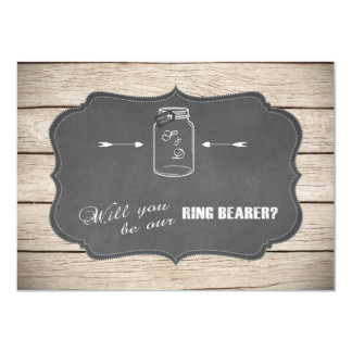Mason Jar Chalboard Will You Be Our Ring Bearer? Card