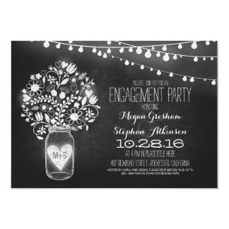 "mason jar chalkboard & lights engagement party 5"" x 7"" invitation card"