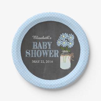 Mason Jar Chalkboard Look Blue Dots Baby Shower 7 Inch Paper Plate