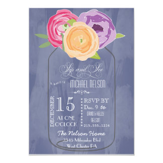Mason Jar Chalkboard Sip and See Card