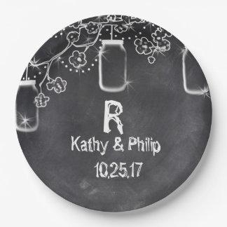 Mason Jar Chalkboard String Lights Rustic Wedding 9 Inch Paper Plate