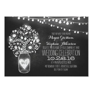 mason jar chalkboard string lights wedding invites