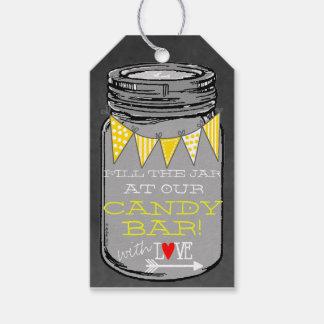 Mason Jar Chalkboard Yellow Wedding Favor Pack Of Gift Tags