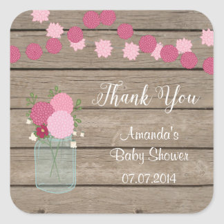 Mason Jar Dahlia Baby Shower Thank You Stickers