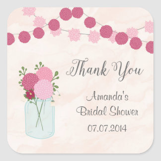 Mason Jar Dahlia Bridal Shower Thank You Stickers