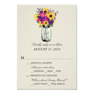 Mason Jar Daisies and Sunflowers | RSVP Card