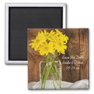 Mason Jar Daisies Country Wedding Save the Date Magnet