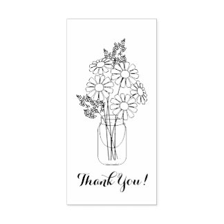 Mason Jar Daisy Flowers Thank You Rubber Stamp