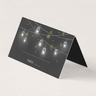 Mason Jar Fireflies Chalkboard Wedding Place Card
