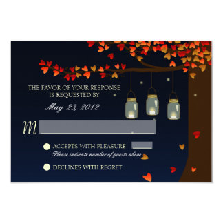 Mason Jar Fireflies Oak Tree RSVP Card
