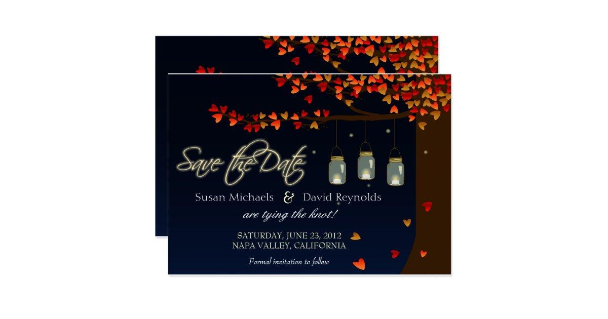 Mason jar fireflies oak tree save the date 5 x 7 for Home landscape design premium 17 5