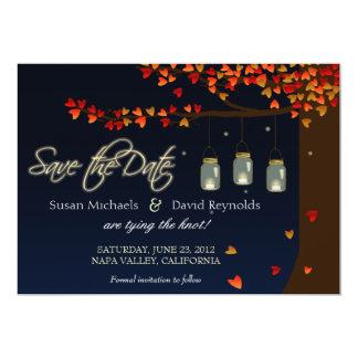 "Mason Jar Fireflies Oak Tree Save the Date 5"" X 7"" Invitation Card"