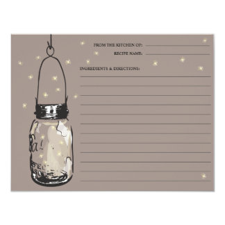 Mason Jar & Fireflies Recipe Card