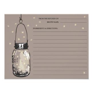 "Mason Jar & Fireflies Recipe Card 4.25"" X 5.5"" Invitation Card"