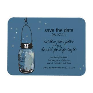 Mason Jar & Fireflies Save the Date Rectangular Photo Magnet