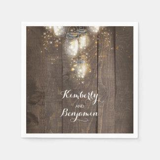 Mason Jar Firefly Lights Rustic Country Paper Napkins