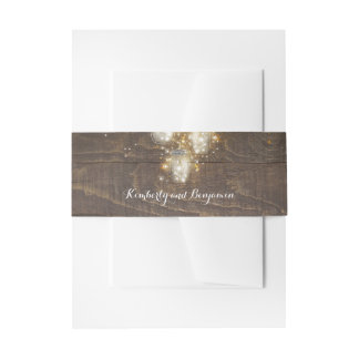 Mason Jar Firefly Lights Rustic Wood Invitation Belly Band