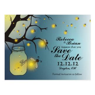 Mason Jar & Firefly Save the Date Postcard A
