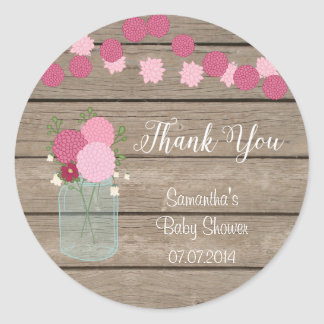Mason Jar Flowers Baby Shower Sticker