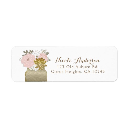 Mason Jar Flowers Rustic Floral Pink & Gold Chic Return Address Label