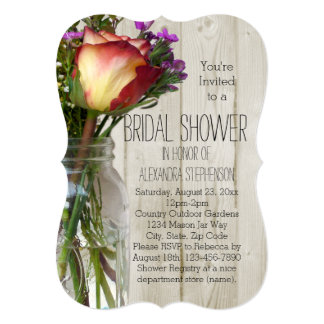 Mason Jar Flowers Vintage Rustic Bridal Shower Card