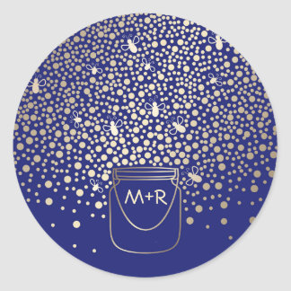 Mason Jar Gold Fireflies Rustic Navy Wedding Classic Round Sticker