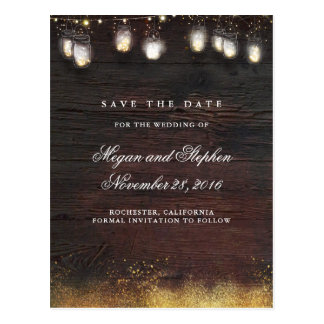 Mason Jar Gold Lights Rustic Save the Date Postcard