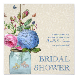 Mason Jar Goldfish Love Bridal Shower Card