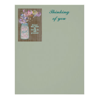 Mason Jar Honor the Past by Living in the Present Letterhead