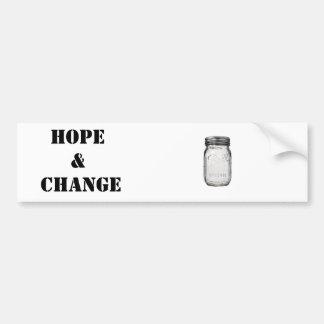 Mason Jar: Hope and Change Bumper Sticker