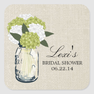 Mason Jar Hydrangea Bridal Shower Square Sticker
