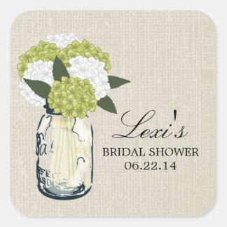 Mason Jar Hydrangea Bridal Shower Square Sticker