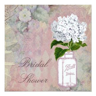 Mason Jar Hydrangea Shabby Chic Bridal Shower Card