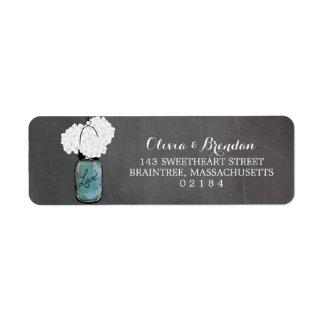 Mason Jar Hydrangeas Chalkboard Return Address