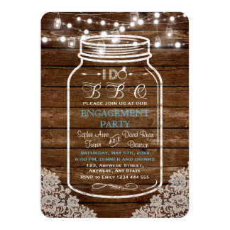 Mason Jar Lace String Lights I DO BBQ Engagement Card