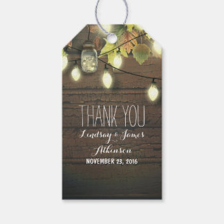 Mason Jar Lights and Fall Leaves Rustic Barn Gift Tags