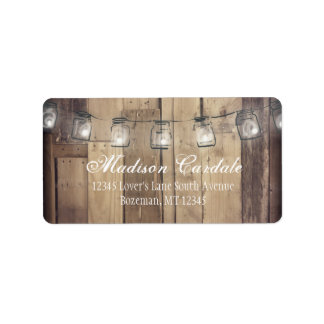 Mason Jar Lights Barn Wood Wedding Address Labels