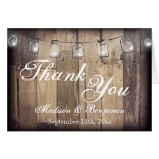 Mason Jar Lights Barn Wood Wedding Thank You Card