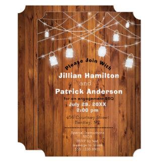 Mason Jar Lights BBQ Barbecue Couple Engagement Card