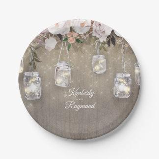 Mason Jar Lights Floral Rustic Paper Plate