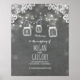 Mason Jar Lights Lace Chalk Wedding Welcome Sign