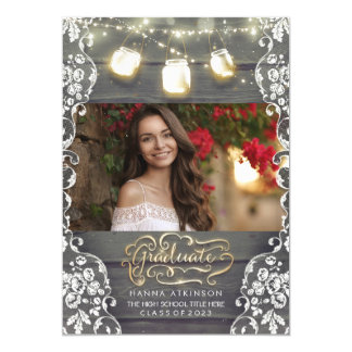 Mason Jar Lights Rustic Photo Graduation Party Card