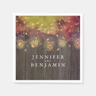 Mason Jar Lights Rustic Wedding Paper Napkins