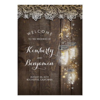 Mason Jar Lights Rustic Wedding Welcome Sign