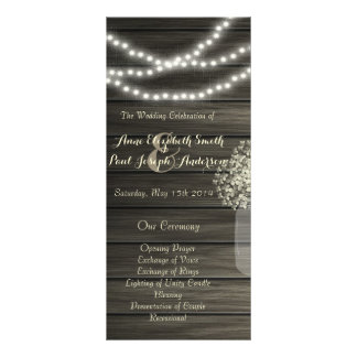 Mason jar lights Wedding Program Rack Card