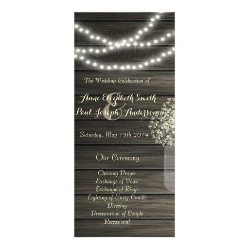 Mason jar lights Wedding Program Full Color Rack Card