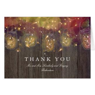 Mason Jar Lights Wedding Thank You Card