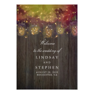 Mason Jar Lights Wedding Welcome Sign