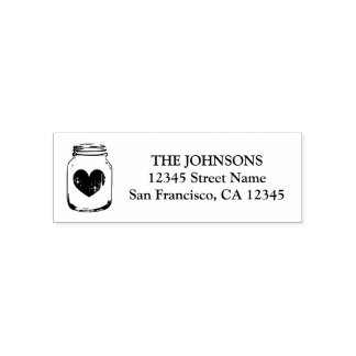 Mason jar logo self inking return address stamps